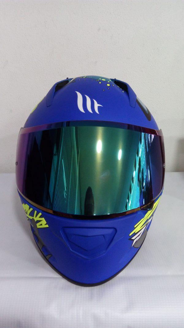 casco cerrado marca mt modelo shark color azul