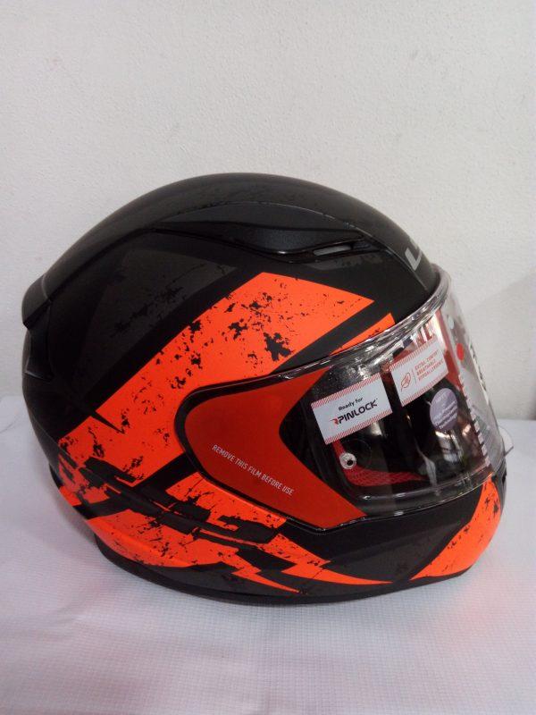 casco cerrado marca ls2 modelo rapid negro naranja
