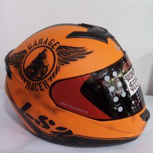 casco cerrado ls2 naranja garage racer