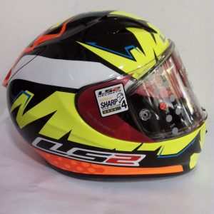 casco cerrado marca ls2 modelo arrow color naranja amarillo
