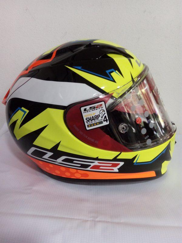 casco cerrado marca ls2 modelo arrow color naranja amarillo