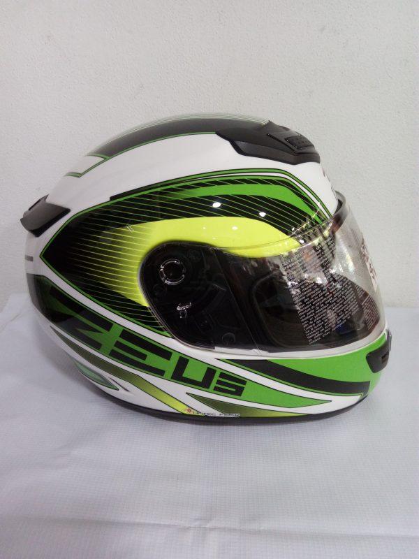 casco zeus cerrado verde blanco motoplaza cuernavaca
